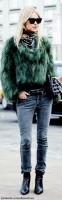 yeşil kürk ceket mavi kot kadın uzun çizme bot