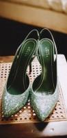 yeşil kadın gucci yüksek topuklu ayakkabı
