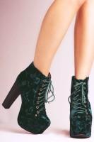 yeşil kadife kadın Jeffrey Campbell ayakkabı bot