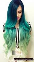 yeşil uzun dalgalı saç renkleri