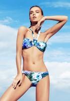 zeki triko mavi desenli boyundan bağlamalı bikini